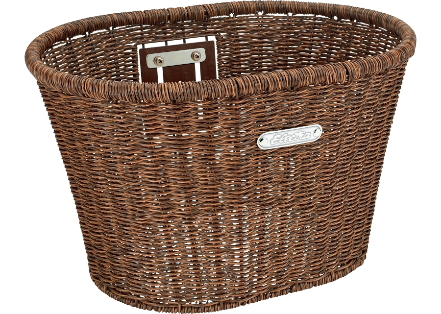 Electra Basket Plastic Woven Dark Brown